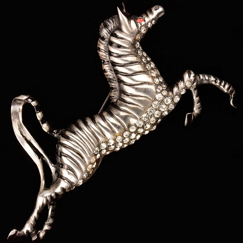 Eisenberg Original Sterling Pave and Black Enamel Zebra Pin