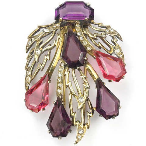Eisenberg Sterling Kite Shaped Amethyst and Pink Topaz Golden Leaves Floral Pin Clip