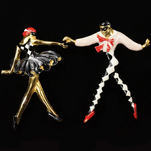 Silson Gold and Enamel Matching Pair of Harlequin and Columbine Masked Ballet Dancer Pins