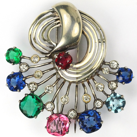 Eisenberg Sterling Gold Swirl and Multicolour Stones Pin Clip