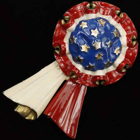Silson US Patriotic Red White and Blue Rosette with Streamers Pin Clip
