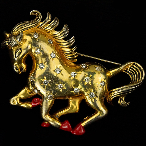 Eisenberg Original Gold and Star Spangles Galloping Horse Pin