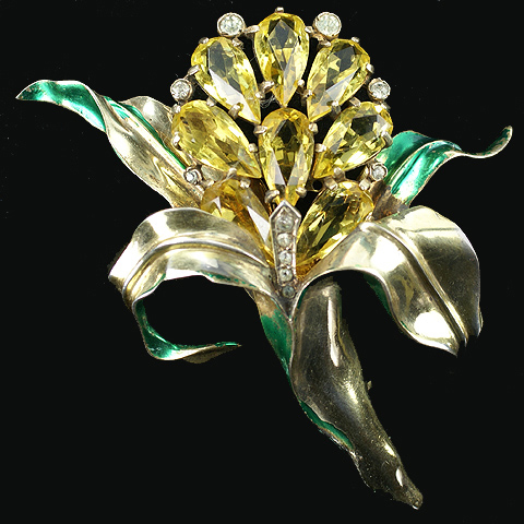 Eisenberg Original Sterling Gold Metallic Enamel and Citrines Flower Pin Clip