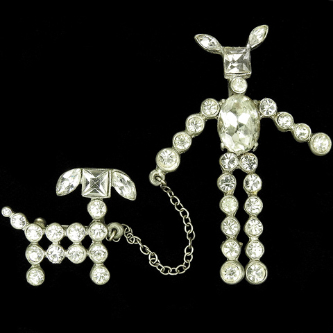Staret Diamond Dog - Man Taking a Dog for a Walk Chatelaine Pin