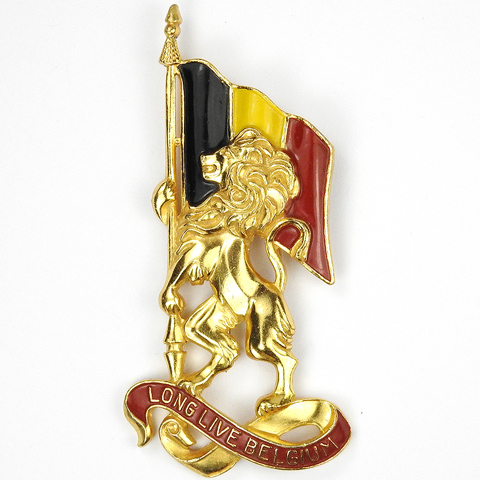 Silson WW2 Patriotic 'Long Live Belgium' Lion and Flag Pin Clip