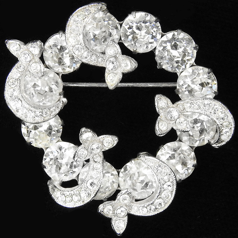 Eisenberg Pave and Diamante Circle of Moon and Star Swirls Pin