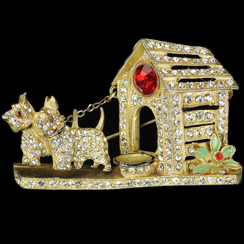 Staret (unsigned) Gold Pave and Enamel Pair of Trembler Scottie Dogs Outside their Kennel with Food Bowl Pin