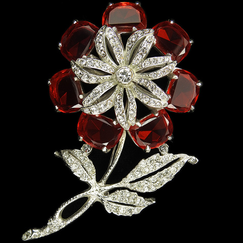 Reinad Pave and Ruby Demilunes Giant Flower Pin