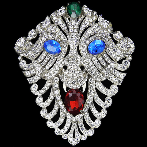 Staret Pave Ruby Emerald and Sapphires Lion Holding a Ruby in its Jaws Face Mask Pin
