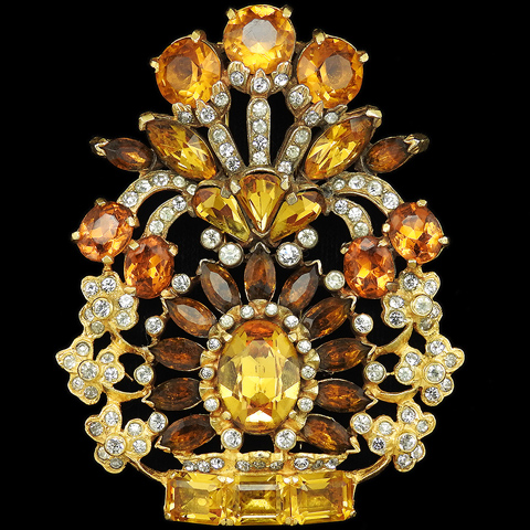 Eisenberg Original Gold Citrine and Topaz Flower Vase Pin Clip