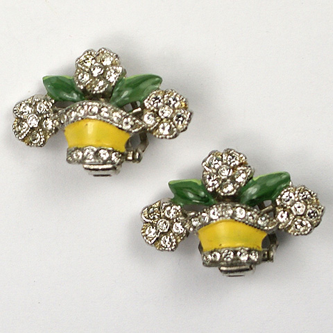 Coro Pave and Enamel Flower Basket Clip Earrings
