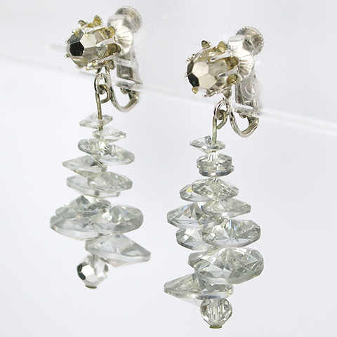 Vendome Mirror Crystals Spiral Helix Pendant Clip Earrings