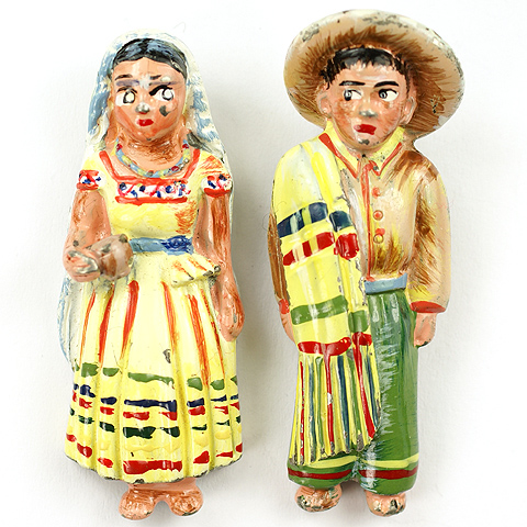 Coro Mexican Lady and Gentleman Pair of Pin Clips
