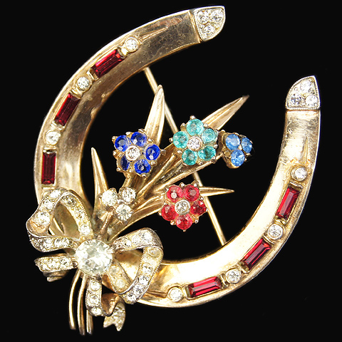 Corocraft Sterling Golden Horseshoe and Bouquet with Bow Pin