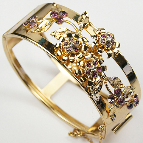 Coro Gold and Amethysts Flowers and Leaves Bangle Bracelet