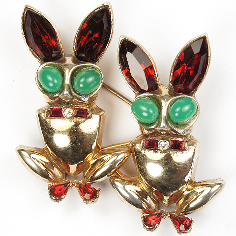 Corocraft Sterling Gold Ruby and Emerald Rabbits Duette