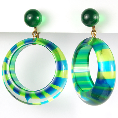 Vendome (? unsigned) Psychedelic Blue and Green Striped Tinted Lucite Circles Pendant Clip Earrings