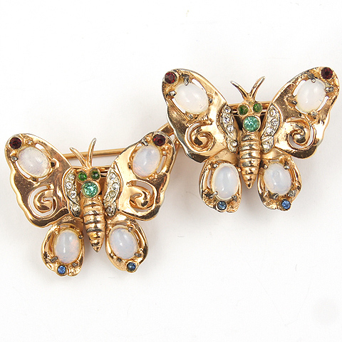 Coro Sterling Gold Ruby Peridot and Sapphire Moonstone Butterfly Duette