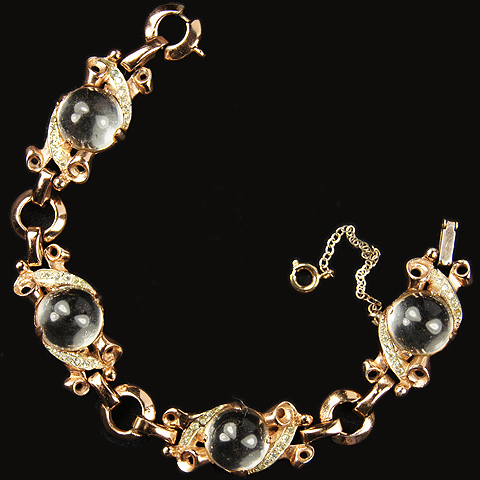Corocraft Sterling Gold Scrolls and Jelly Belly Spheres Bracelet