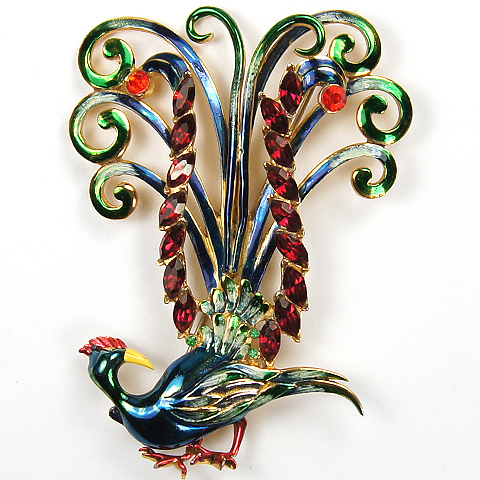 Coro (unsigned) Metallic Enamel and Rubies 'Preening Bird of Paradise' Pin