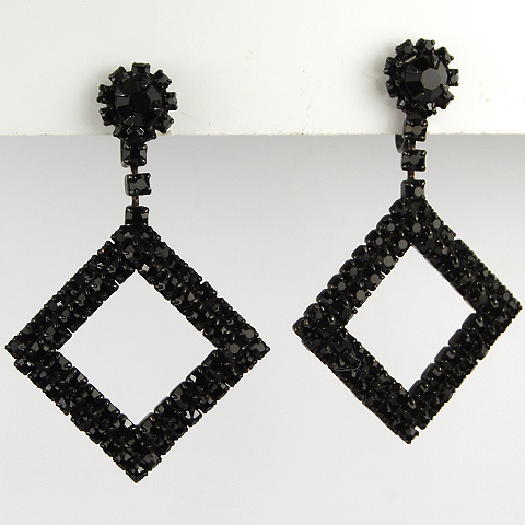 Coro Onyx Diamond Squares Pendant Scewback Earrings