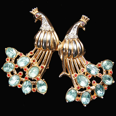 Coro Aquamarine and Ruby 'Chinese' Pair of Peacocks Duettte