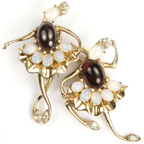 Coro Sterling Gold Moonstone and Ruby Cabochons Ballet Dancers Duette