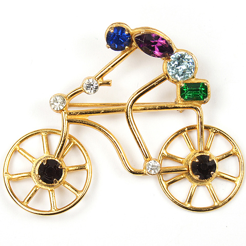 Coro Gold and Multicolour Stones Cyclist on Bicycle Pin