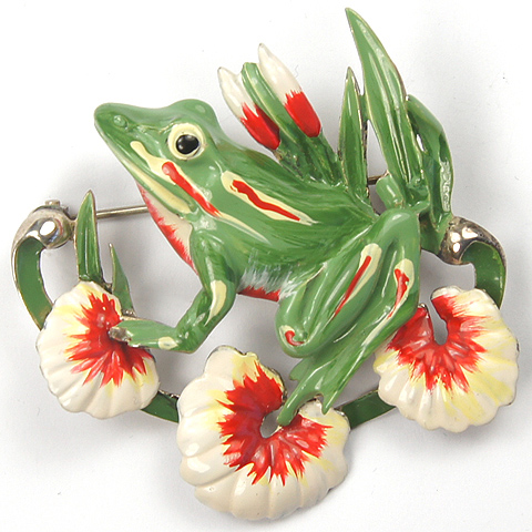 Sterling Craft Coro Enamelled Frog on Three Lilypads Pin