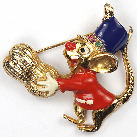 Coro Walt Disney 'Dumbo' Jewelry 'Timothy Q. Mouse' with Peanut Pin