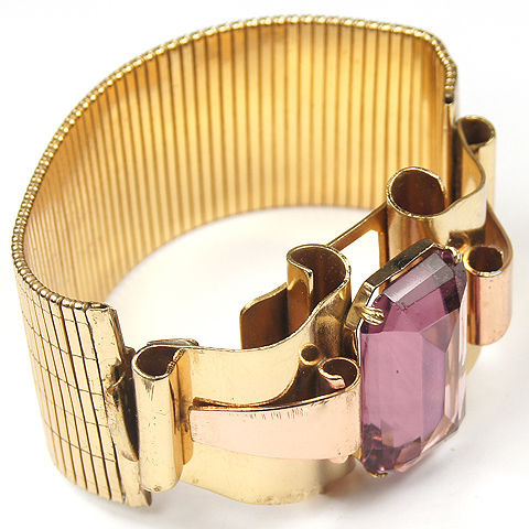 Coro Gold Scrolls, Amethyst and Articulated Band Bracelet