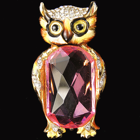 Corocraft Sterling Gold Enamel and Pink Topaz Faceted Belly Owl Pin Clip