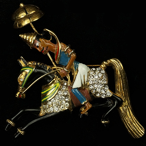 Corocraft Sterling Mongolian Rider with Parasol Pin