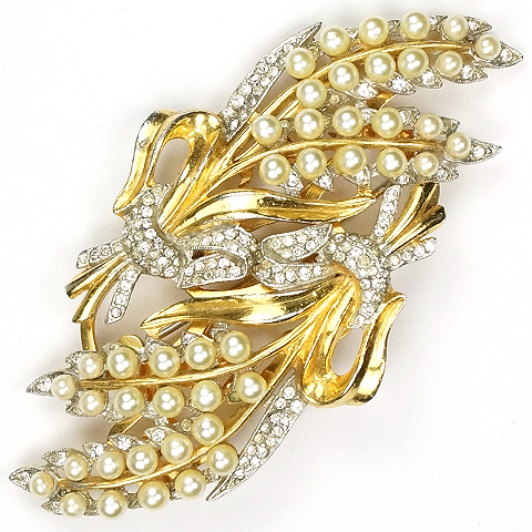 Coro 'Adolph Katz' Gold Pave and Pearls Floral Sprays Duette