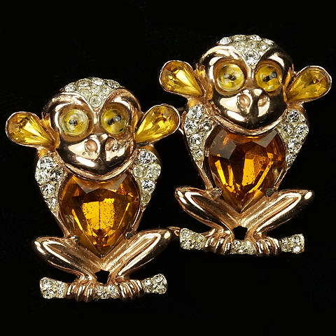 Coro Sterling Gold Pave and Citrine Monkeys Duette