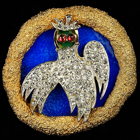 Vendome Georges Braque Gold Pave Lapis and Jade Owl Bird Pin