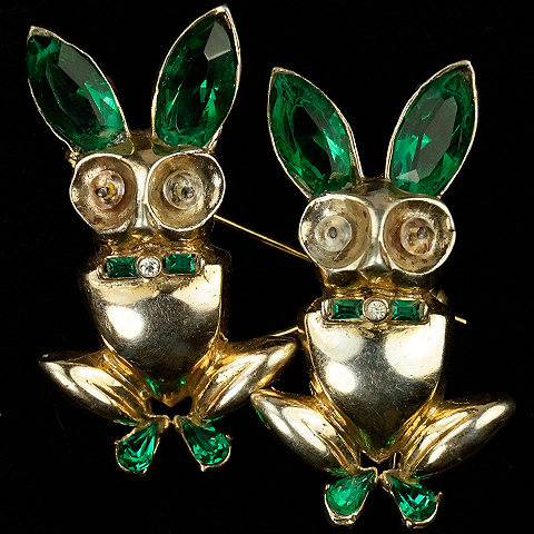 Corocraft Sterling Gold Emerald Rabbits Duette
