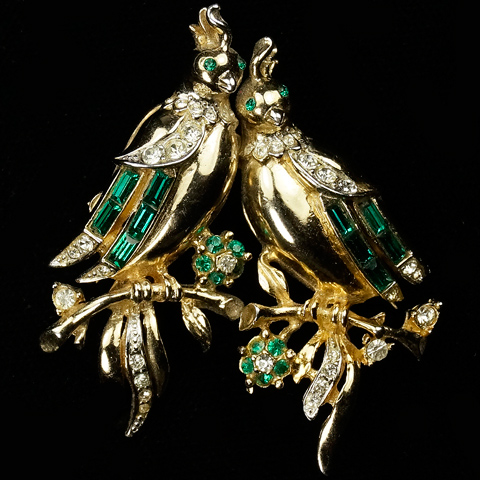 Corocraft Gold Pave and Emerald Baguettes Lovebirds Duette