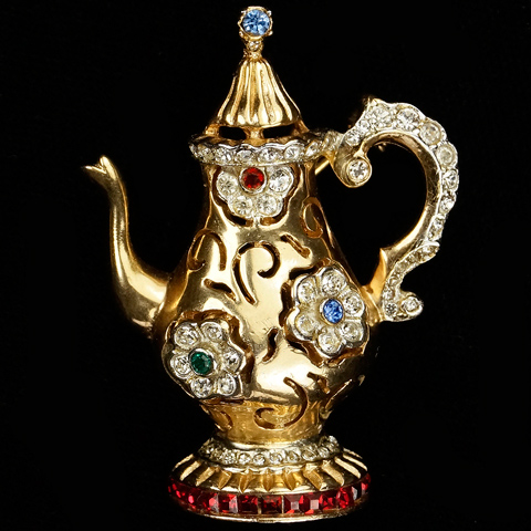 Coro Gold Pave and Invisibly Set Ruby 'Tea for Two' Tea Pot Pin
