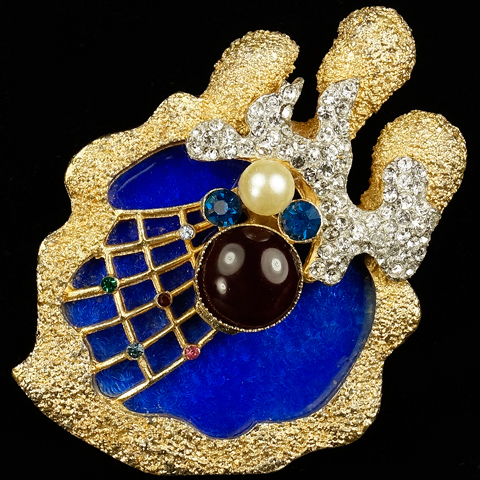 Vendome Georges Braque Gold Pave Lapis Pearl Ruby and Sapphire Spider on Spider's Web Pin