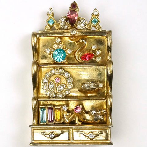 Corocraft Gold and Multicolour Stones Welsh Dresser with Shelves Drawers and Ornaments Pin