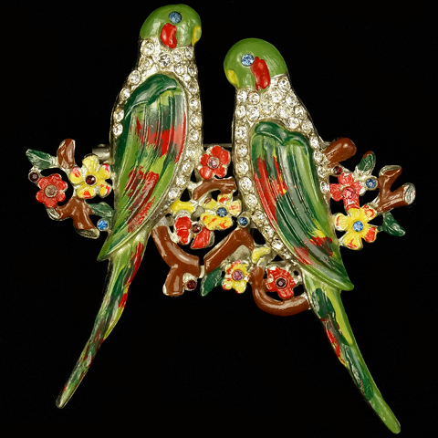 Coro Pave and Enamel Pair of Parakeet Birds on Flower Branches Duette
