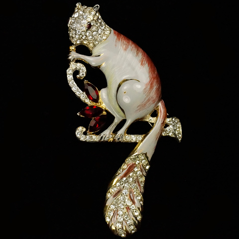 Corocraft Sterling Pave Enamel and Rubies Squirrel Pin Clip