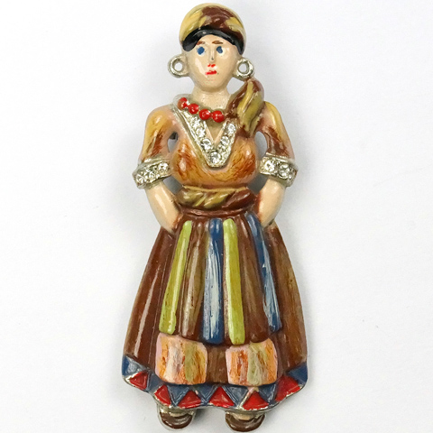 Coro Russian Peasant Girl Pin Clip