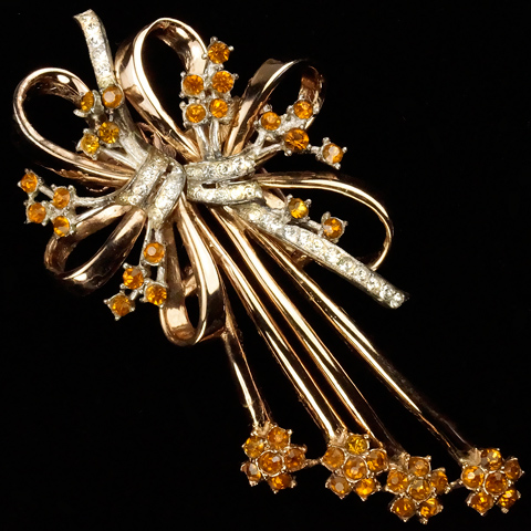 Corcraft Sterling Gold Pave and Citrines Double Bows Duette
