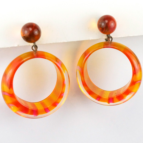 Vendome (? unsigned) Psychedelic Yellow and Orange Striped Tinted Lucite Circles Pendant Clip Earrings
