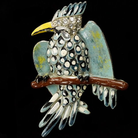 Coro 'Robert Geissmann' Enamelled Woodpecker on a Branch Pin