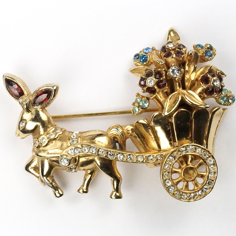 Coro Gold and Multicolour Stones Donkey and Flowercart Pin