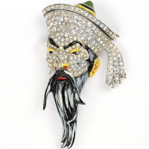 Coro Pave and Enamel Fu Manchu Chinese Man Pin