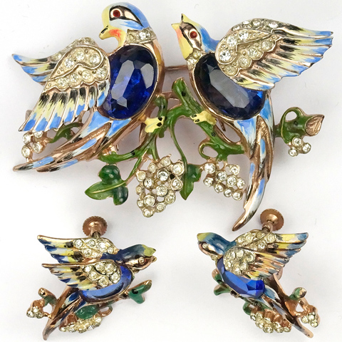 Corocraft Sterling 'Bill and Coo' Sapphire Belly Lovebirds Duette and Screwback Earrings Set
